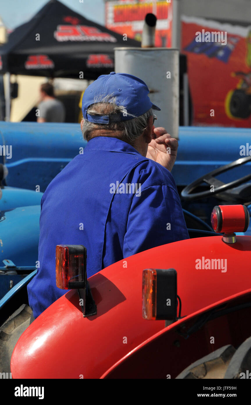vintage tractors on display in fully restored condition at a show of agricultural implements and machinery on the isle of wight - Stock Image