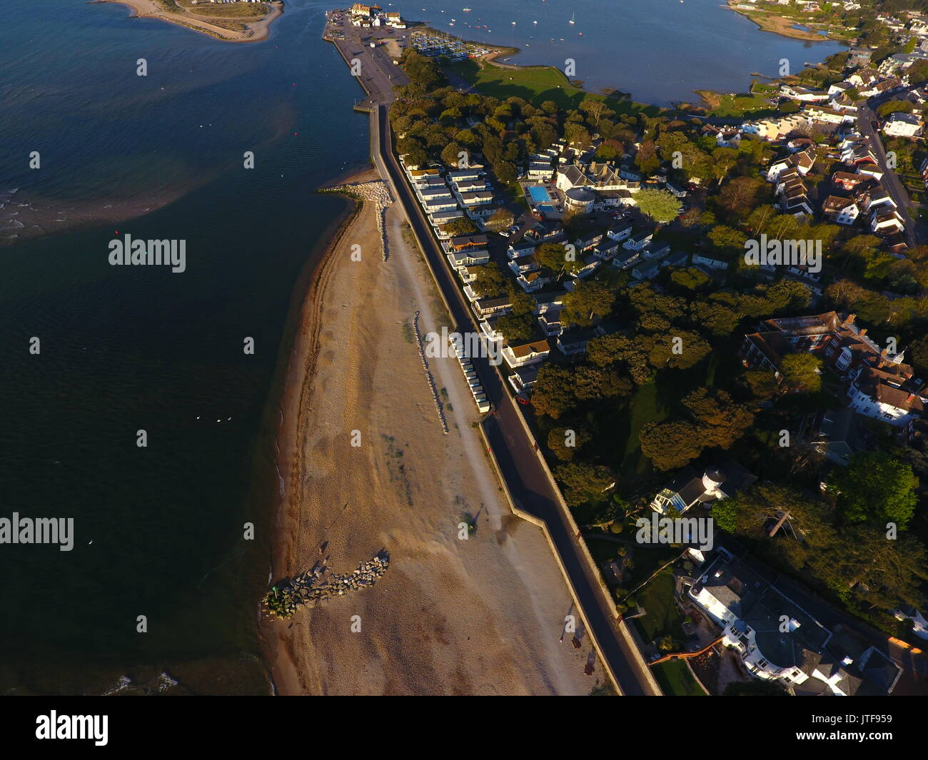 Flying down the Christchurch Coast in Dorset. - Stock Image