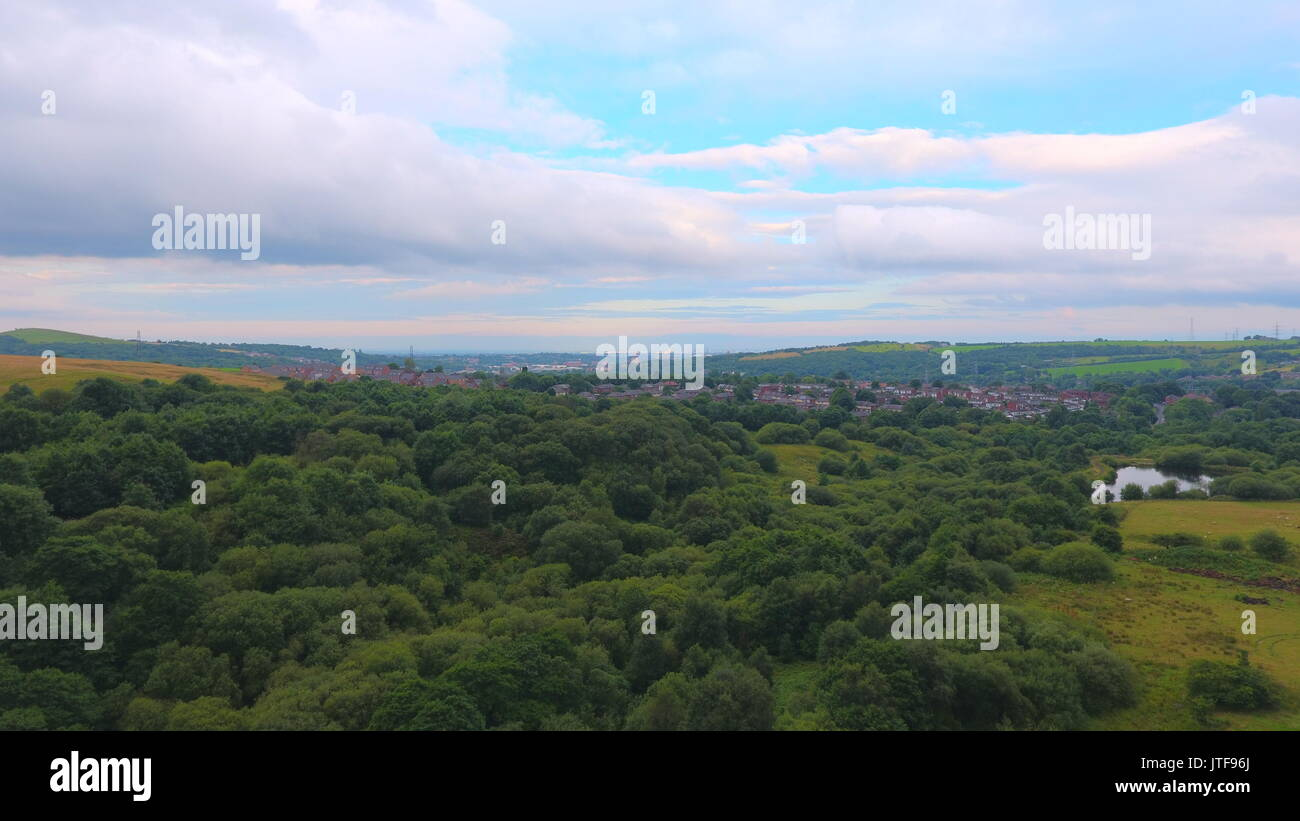 Flying down the Walkerwood Valley in Stalybridge. - Stock Image