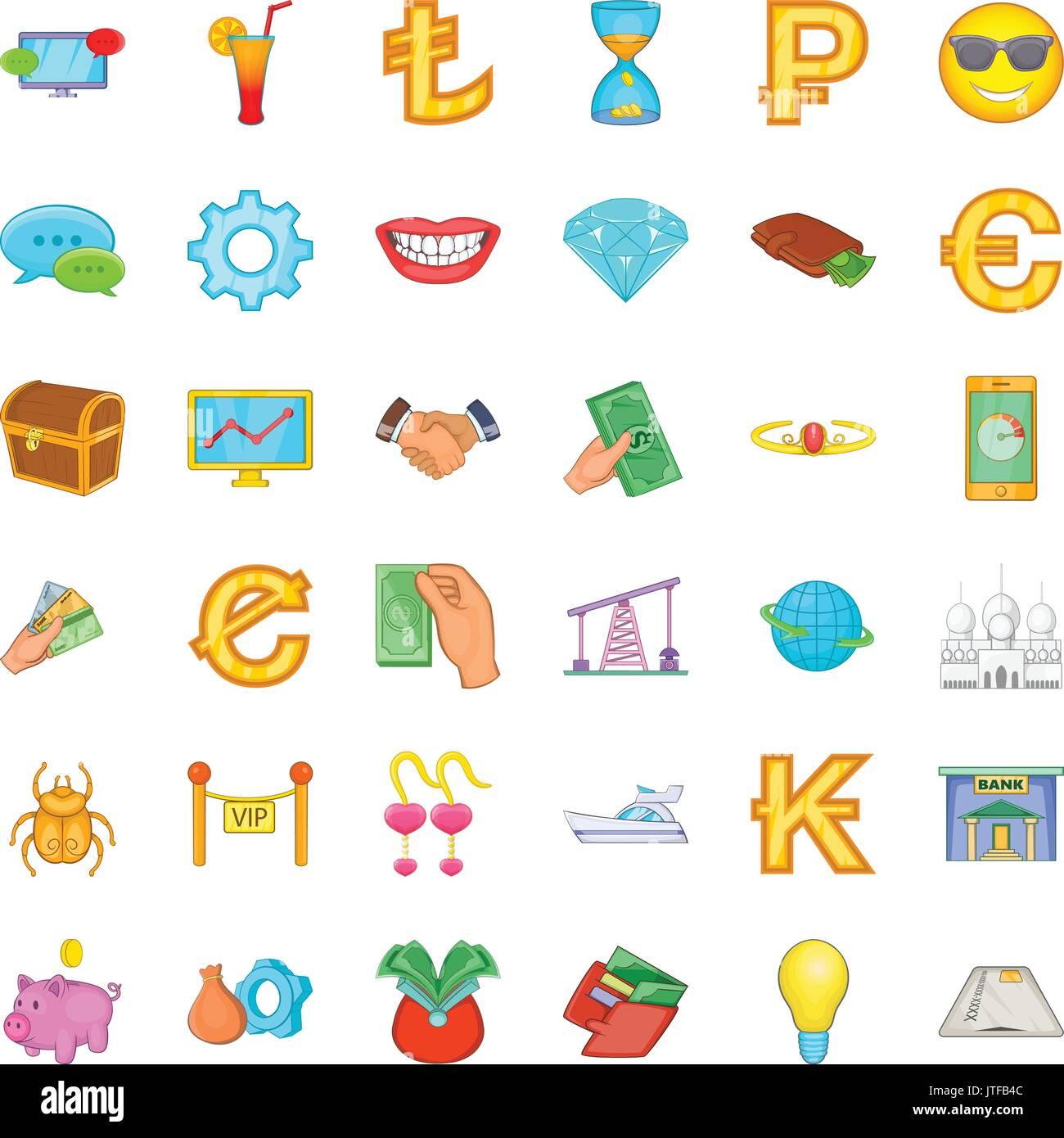 Riches icons set, cartoon style - Stock Image