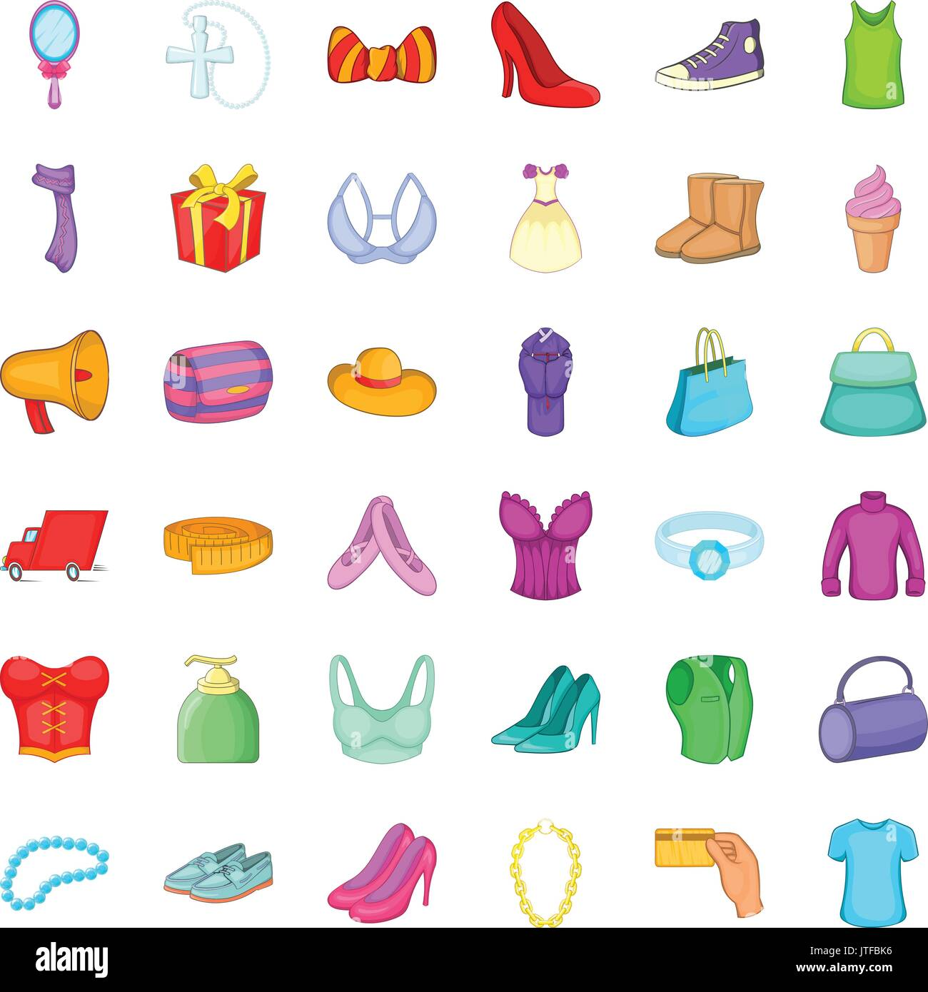 Woman Shoe Icons Set Cartoon Style Stock Vector Art Illustration