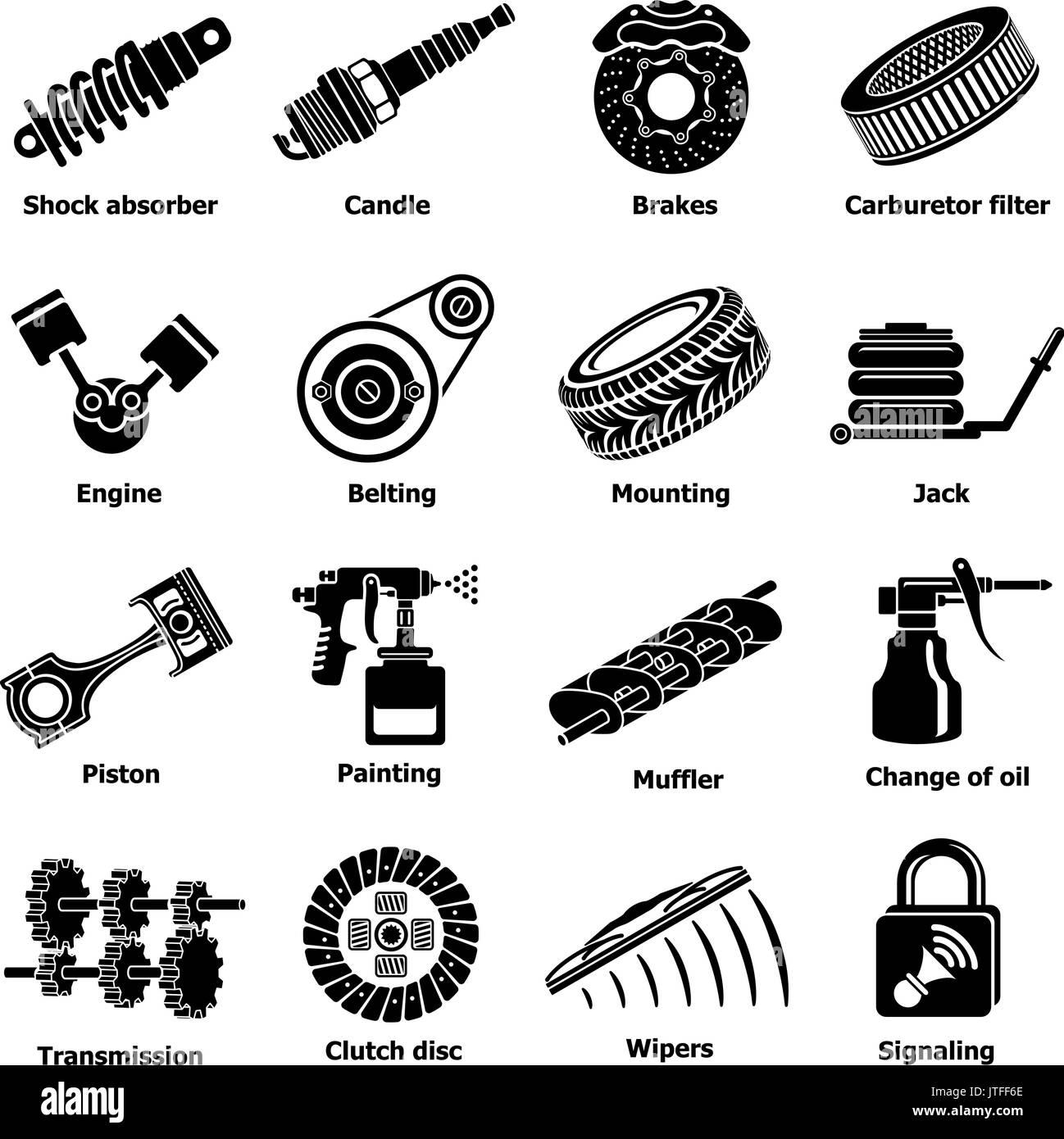 Car repair parts icons set, simple style Stock Vector Art ...