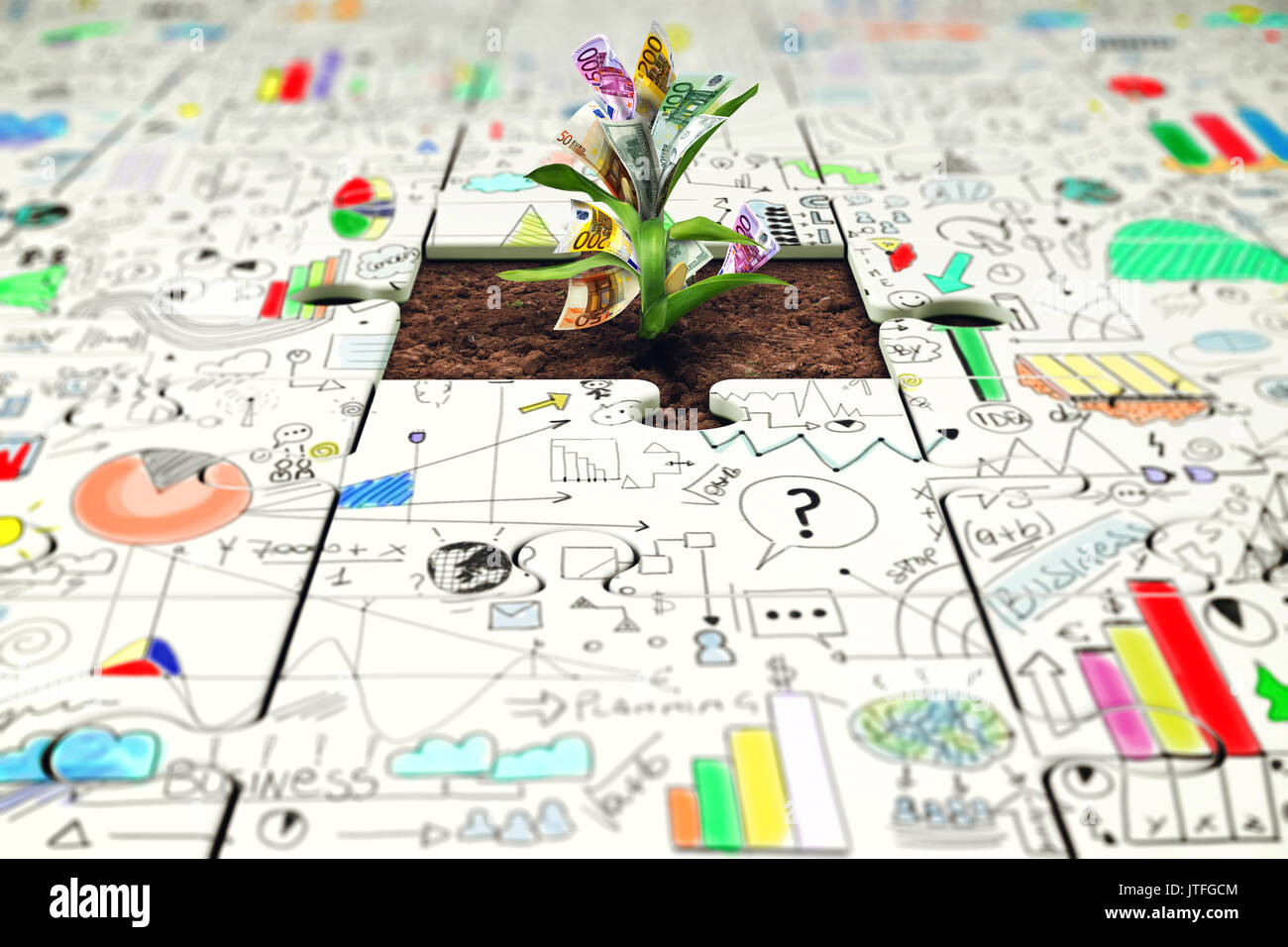 Plant with money grows from a missing piece of puzzle - Stock Image