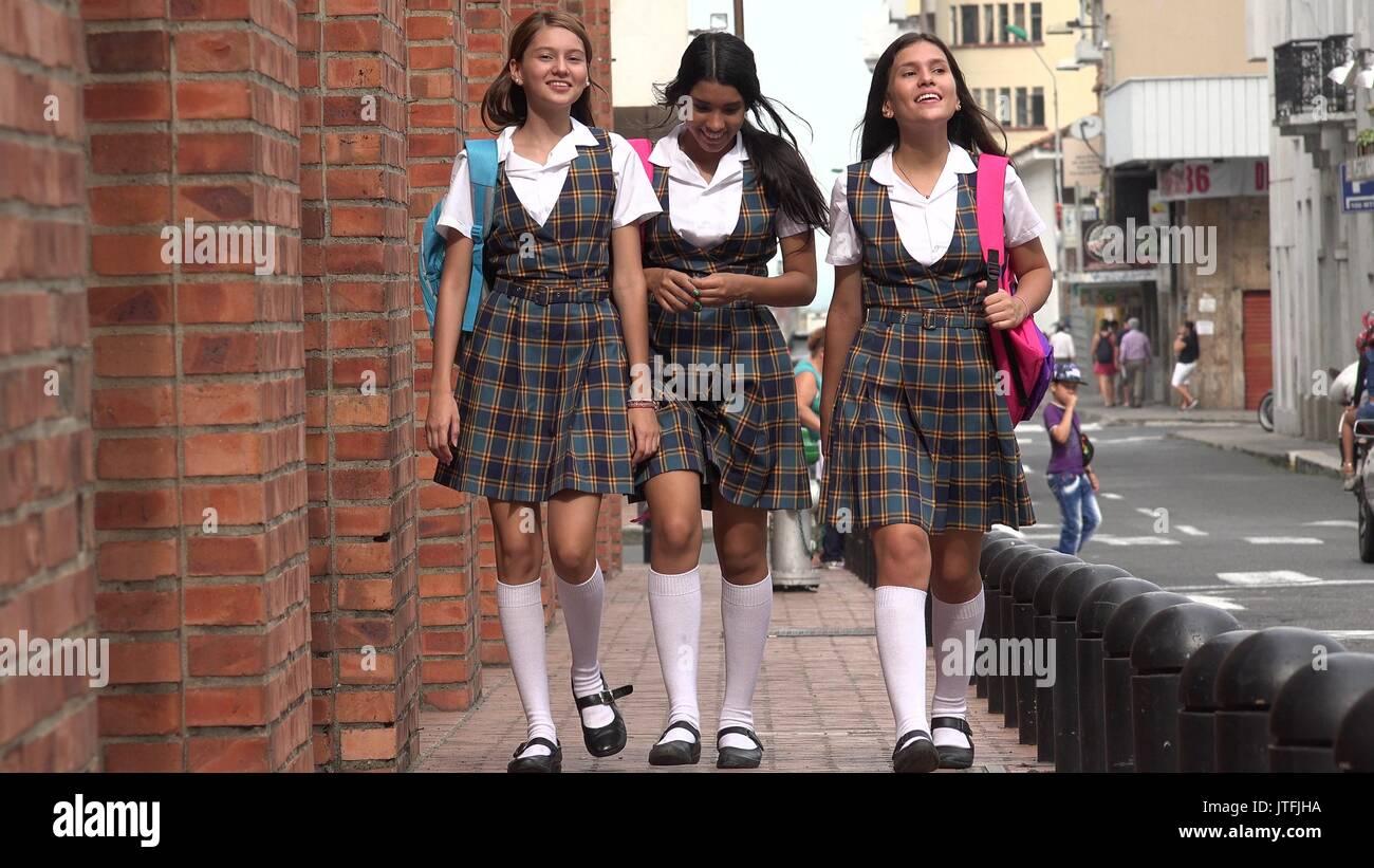 8abb11f93f9 Catholic School Girls Walking To School Stock Photo  152778566 - Alamy