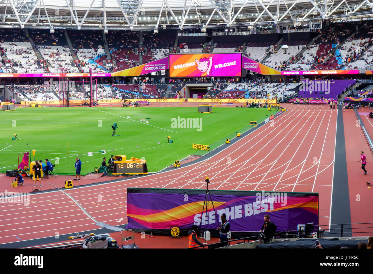London Stadium, home of West Ham united football club in the Queen Elizabeth Olympic Park and venue for london 2017 world championships. - Stock Image