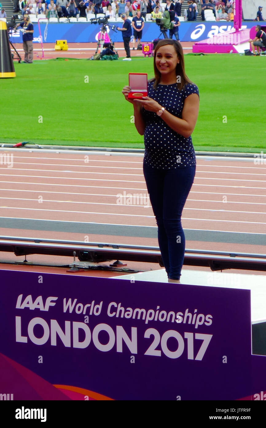 London, UK. 6 August 2017. Jessica Ennis-Hill receives a heptathlon gold medal from IAAF President Lord Coe. - Stock Image