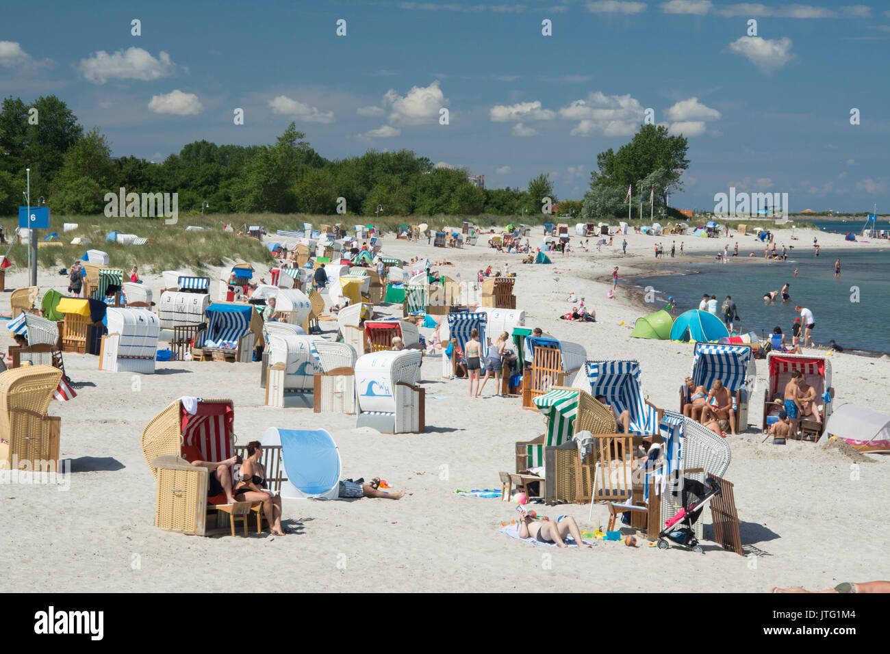 Steinwarder Beach at Heiligenhafen on the Ostsee or Baltic coast, Holstein, Germany - Stock Image