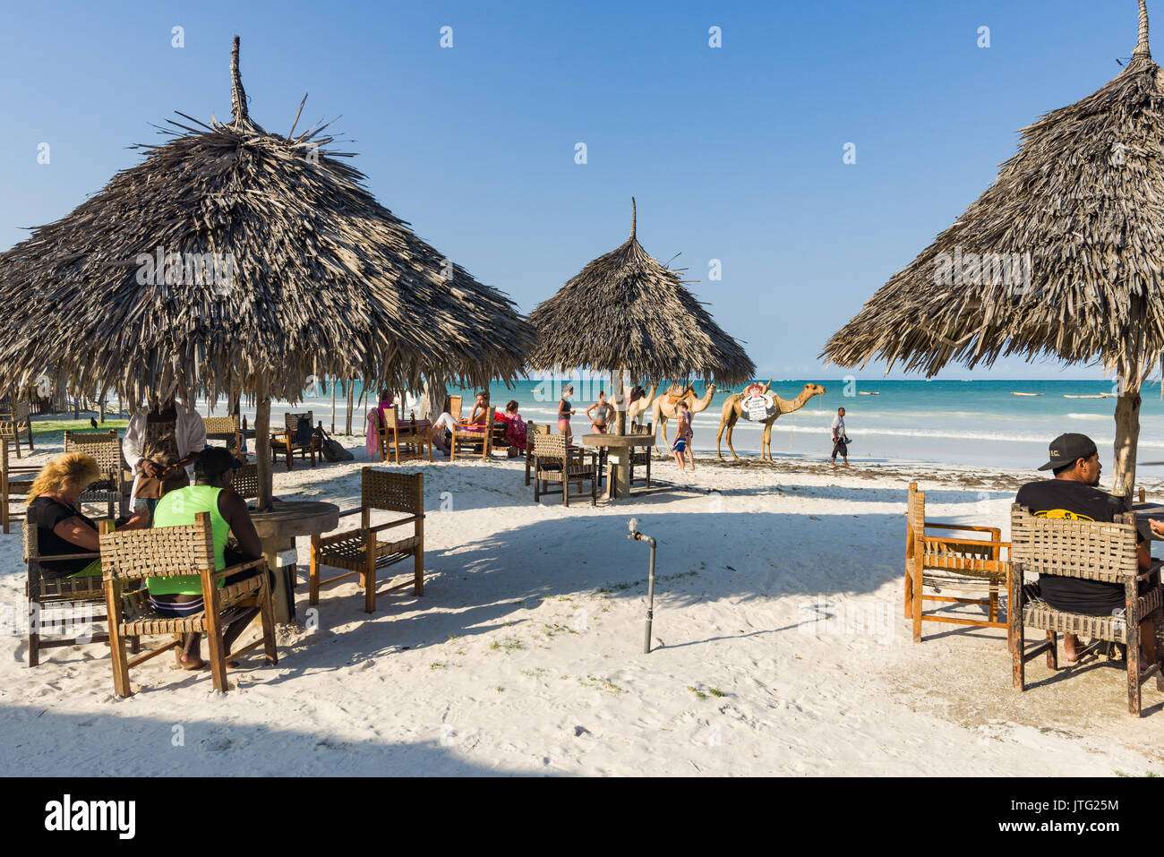 Tourists sitting at beach front ocean view restaurant with palm thatch tables and chairs as two camels walk past on beach in background - Stock Image