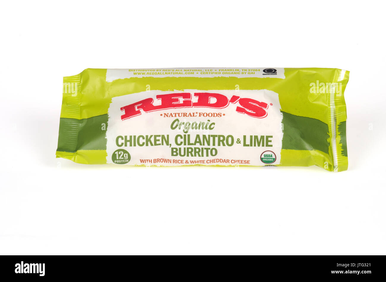 Frozen package wrapper of Red's Chicken, cilantro, lime burrito on white background. USA - Stock Image