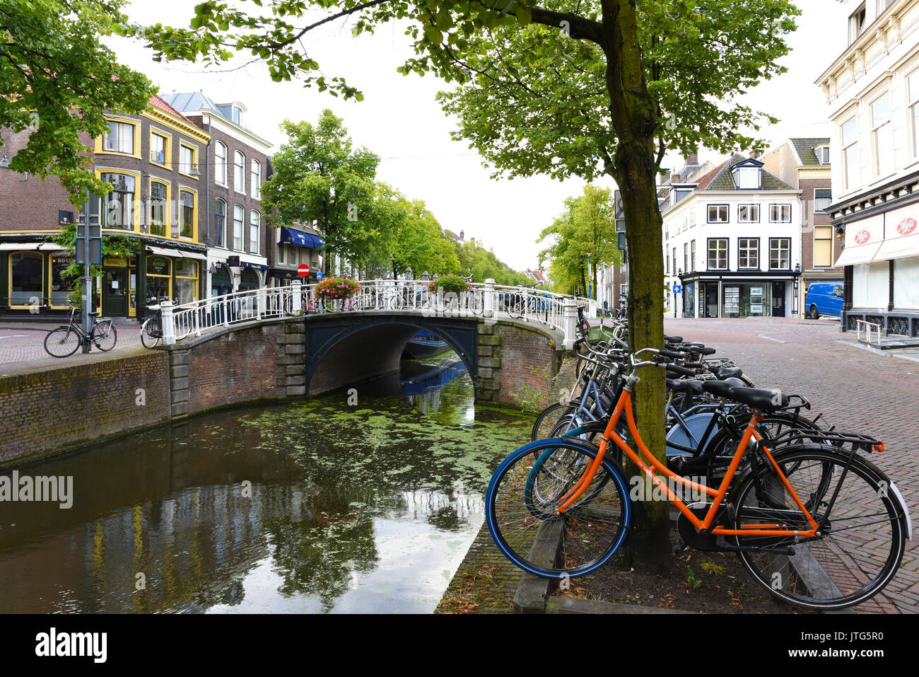A quiet canal in Delft, South Holland, The Netherlands - Stock Image