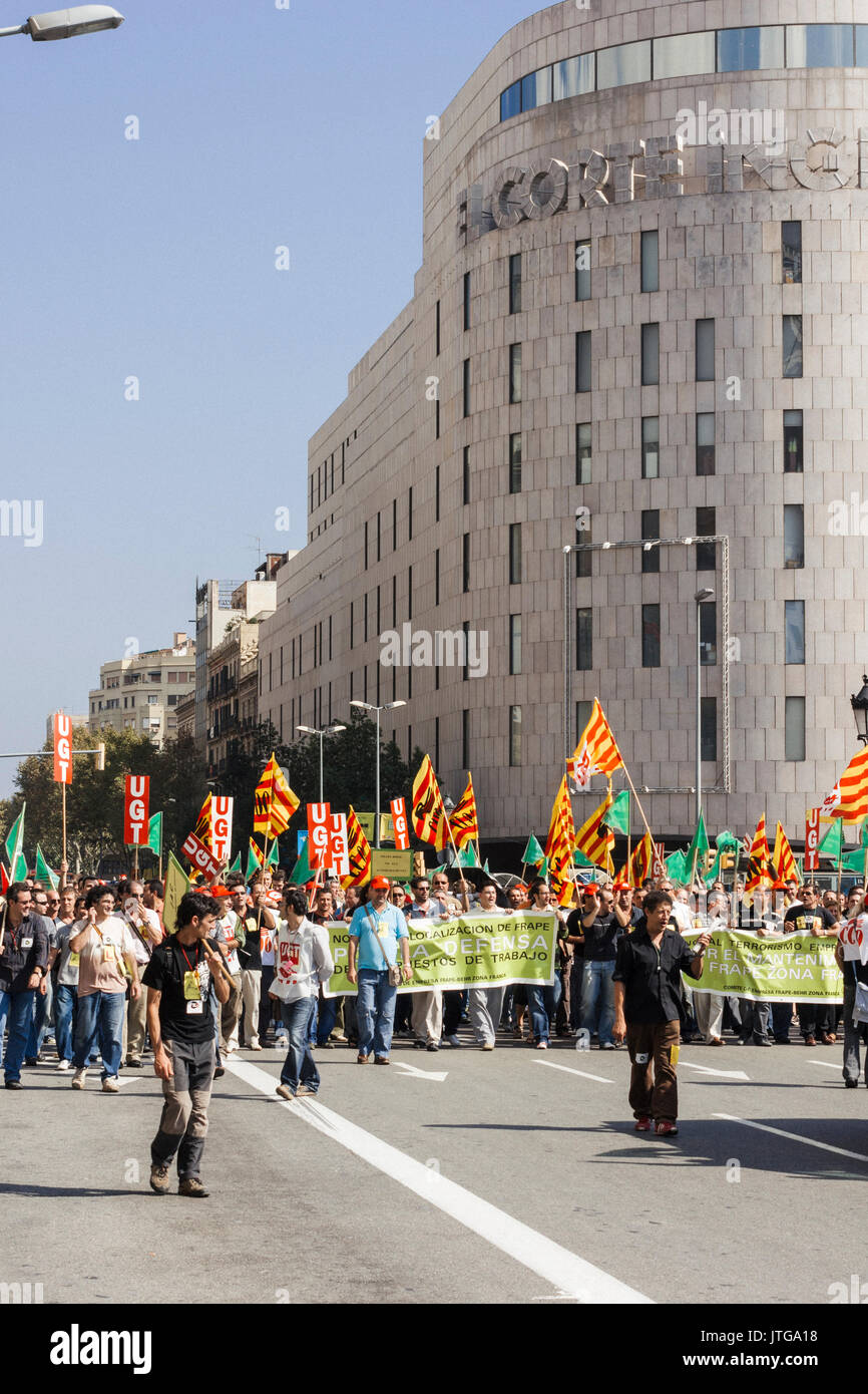 Union demonstration against increase de-localization of factories in Catalonia and Spain - Stock Image