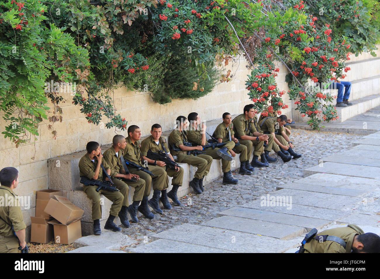Jerusalem, Israel, October 24, 2013, Israeli troops waiting to be sworn in inside Old Jerusalem near the Wailing Wall. - Stock Image