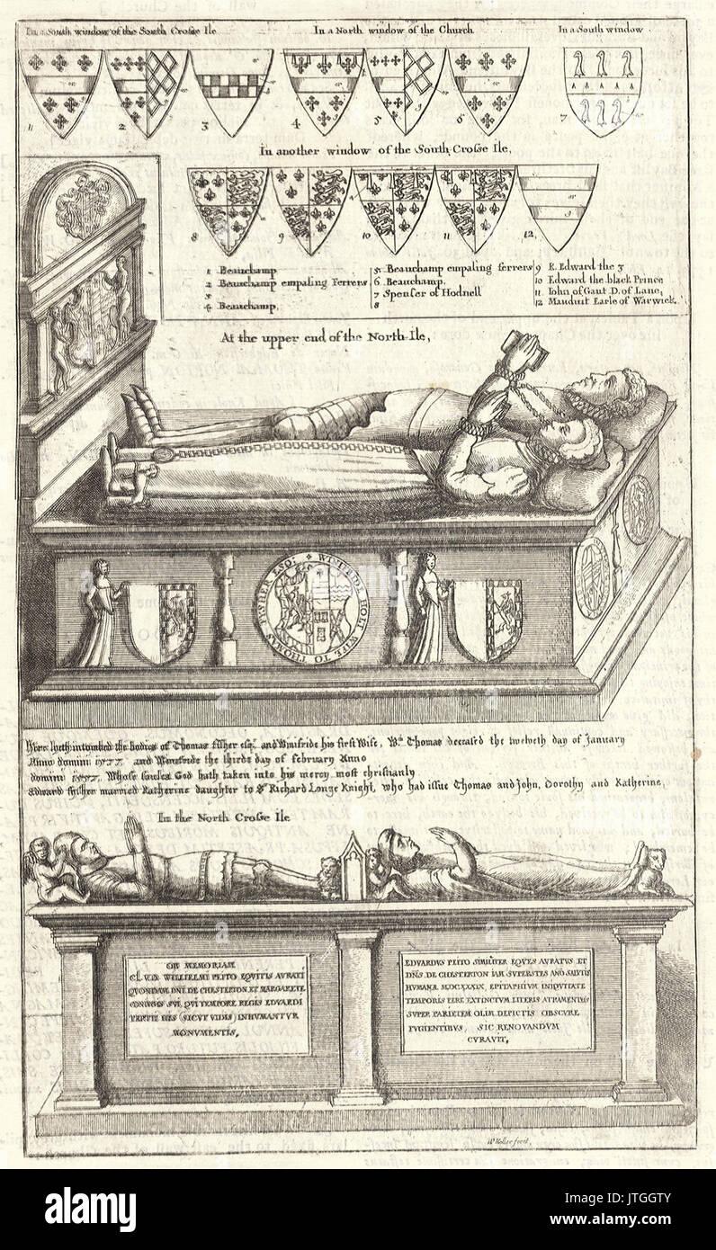 Wenceslas Hollar   Thomas Fisher and Sir William Petto (monument) - Stock Image