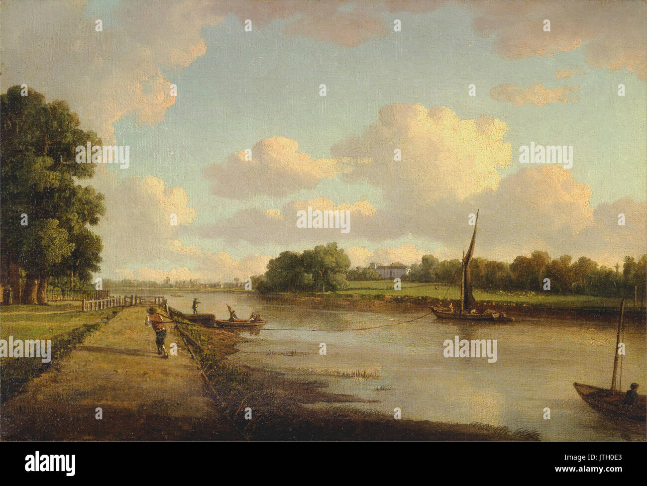 William Marlow   View on the River Thames at Richmond - Stock Image