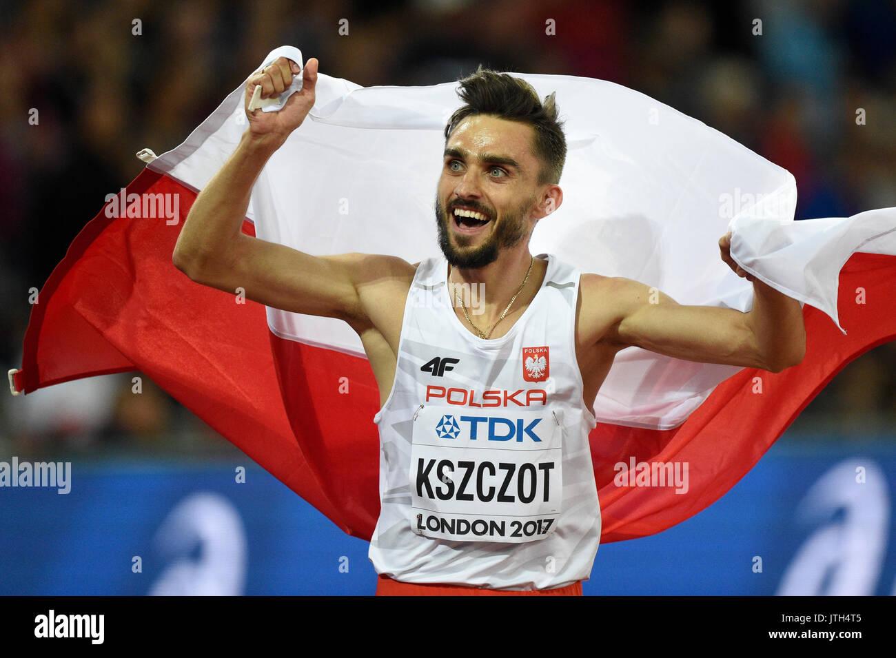Polish athlete Adam Kszczot reacts after winning silver in the men's 800 metre running event at the IAAF London 2017 World Athletics Championships in London, United Kingdom, 8 August 2017. Photo: Bernd Thissen/dpa - Stock Image