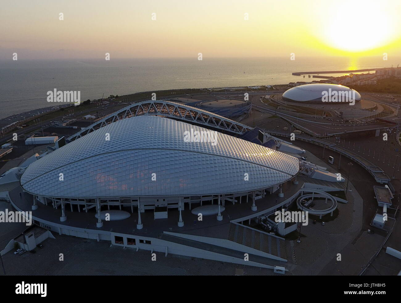 Sochi, Russia. 8th Aug, 2017. An aerial view of the Fisht Stadium (front) and the Bolshoi Ice Palacein the Sochi - Stock Image