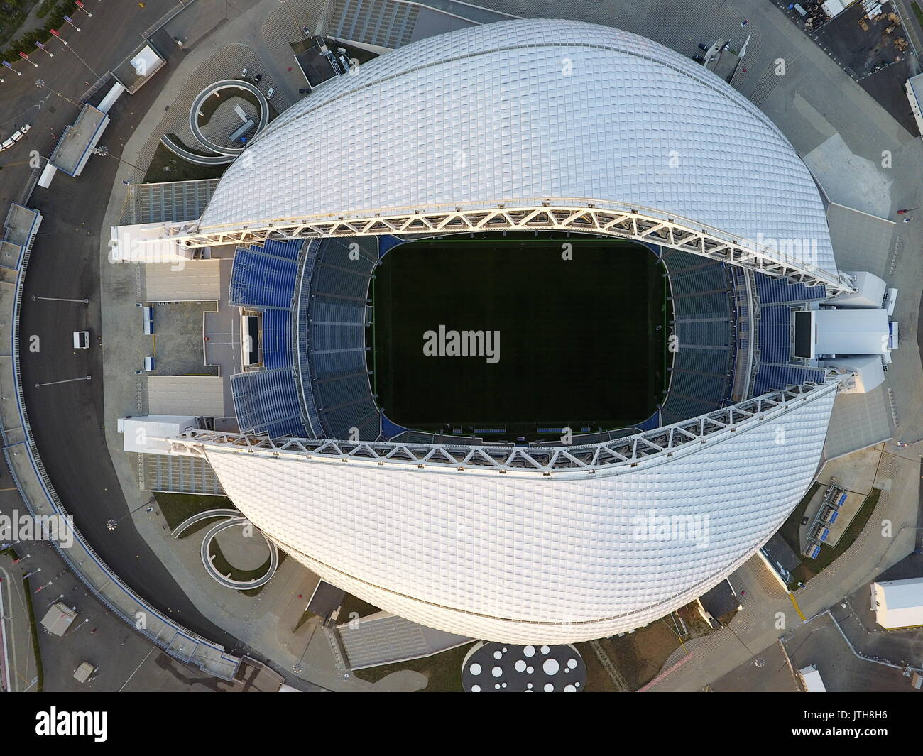Sochi, Russia. 8th Aug, 2017. An aerial view of the Fisht Stadium in the Sochi Olympic Park. The stadium to host - Stock Image
