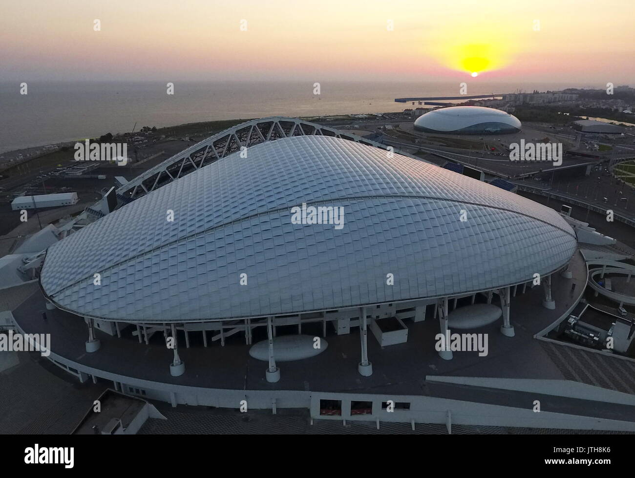 Sochi, Russia. 8th Aug, 2017. An aerial view of the Fisht Stadium (front) and the Bolshoi Ice Palace in the Sochi - Stock Image