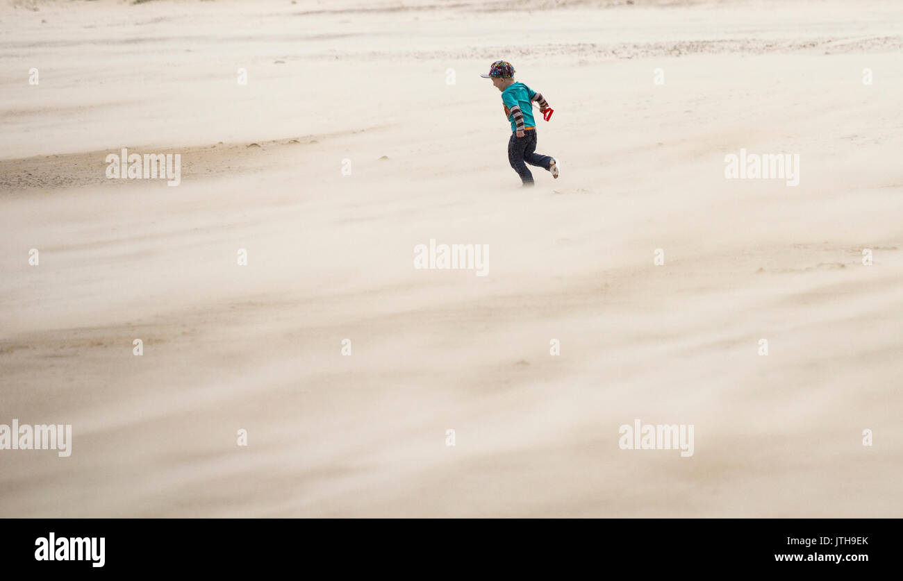 Seaton Carew, County Durham, north east  England, UK, 9th August, 2017. UK weather: A howling and cold northerly Stock Photo