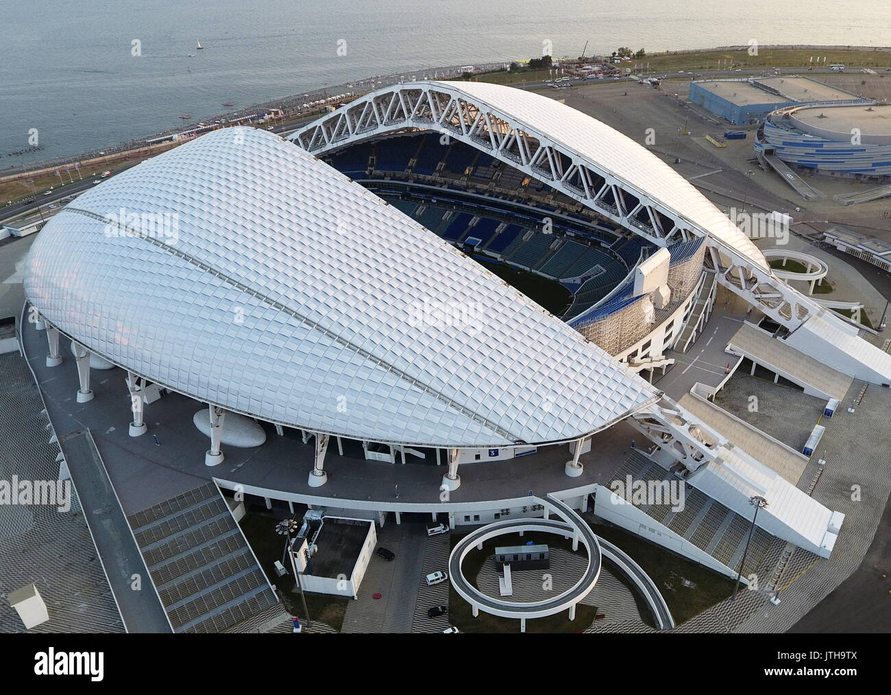 SOCHI, RUSSIA - AUGUST 8, 2017: An aerial view of the Fisht Stadium in the Sochi Olympic Park. The stadium to host - Stock Image