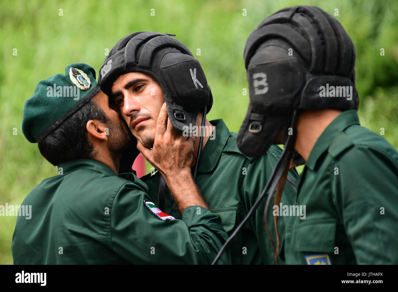 Primorsky Territory, Russia. 9th Aug, 2017. Iranian Navy marines compete in the relay race stage of the Seaborne Stock Photo