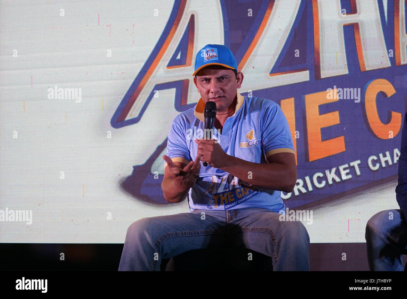 Mumbai, India. 9th August, 2017. Former Indian cricketer Mohammed Azharuddin during the pre-launch of Azhar- The Captain, Cricket Championship mobile game at j w marriott hotel, juhu in mumbai india on 9th augest 2017. Photo by Proidp Guha Credit: Prodip Guha/Alamy Live News - Stock Image