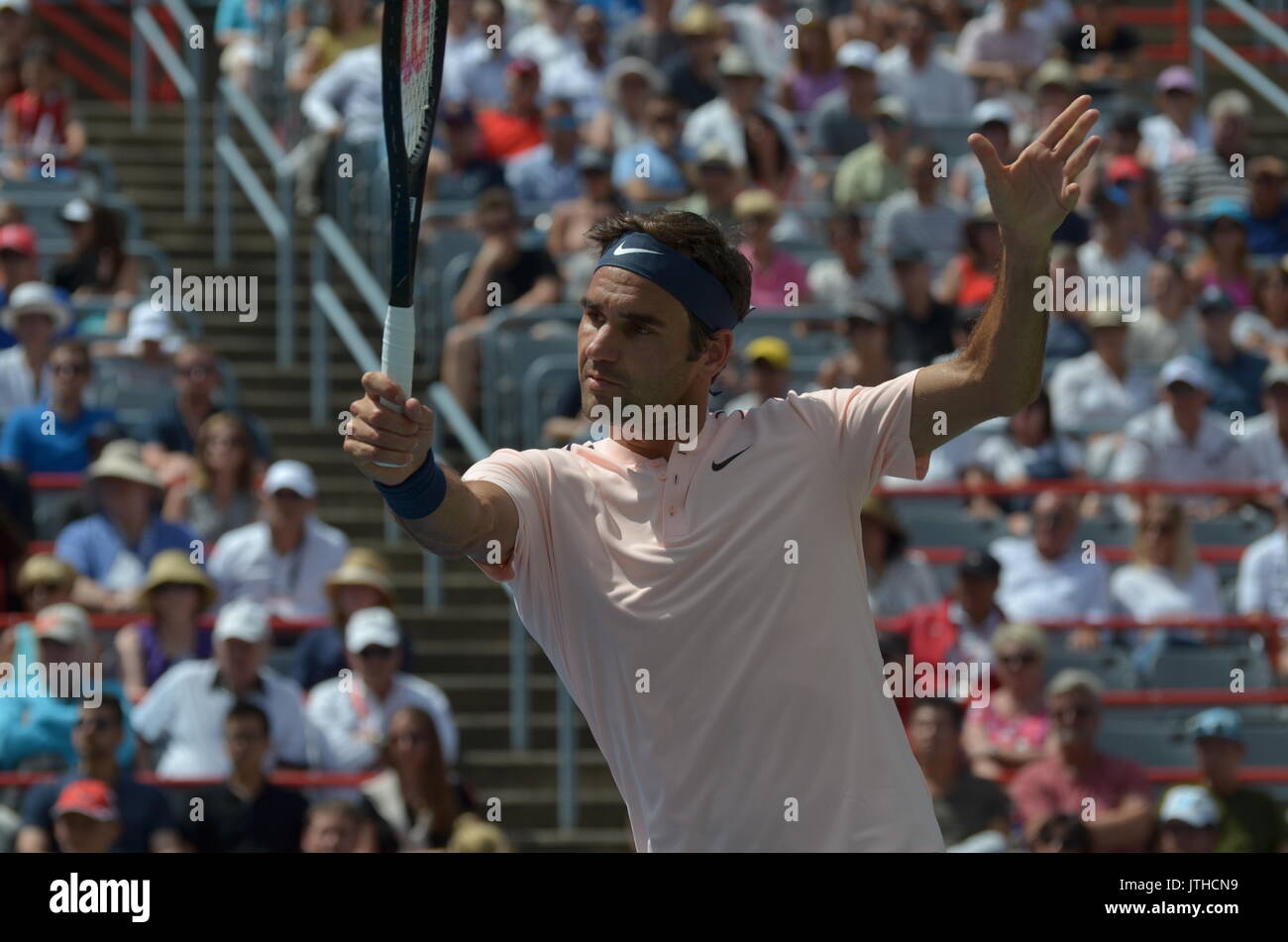 Tennis legend and oldest Masters (Miami,2017) Grand Slam (Wimbledon,2017) champion, Roger Federer (SWI is showing master class at Rogers Cup, Montreal - Stock Image