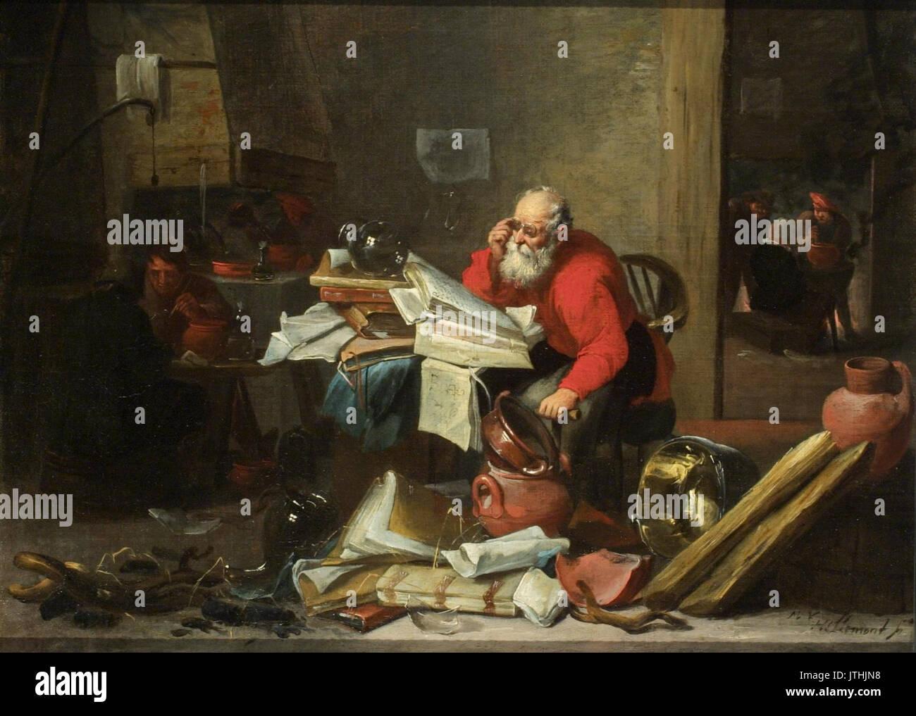 Mattheus van Hellemont The Alchemist - Stock Image