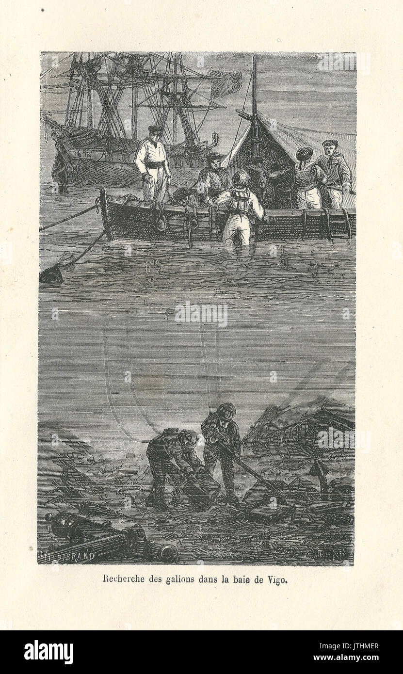 Recherche de galions dans la baie de Vigo gravure - Stock Image