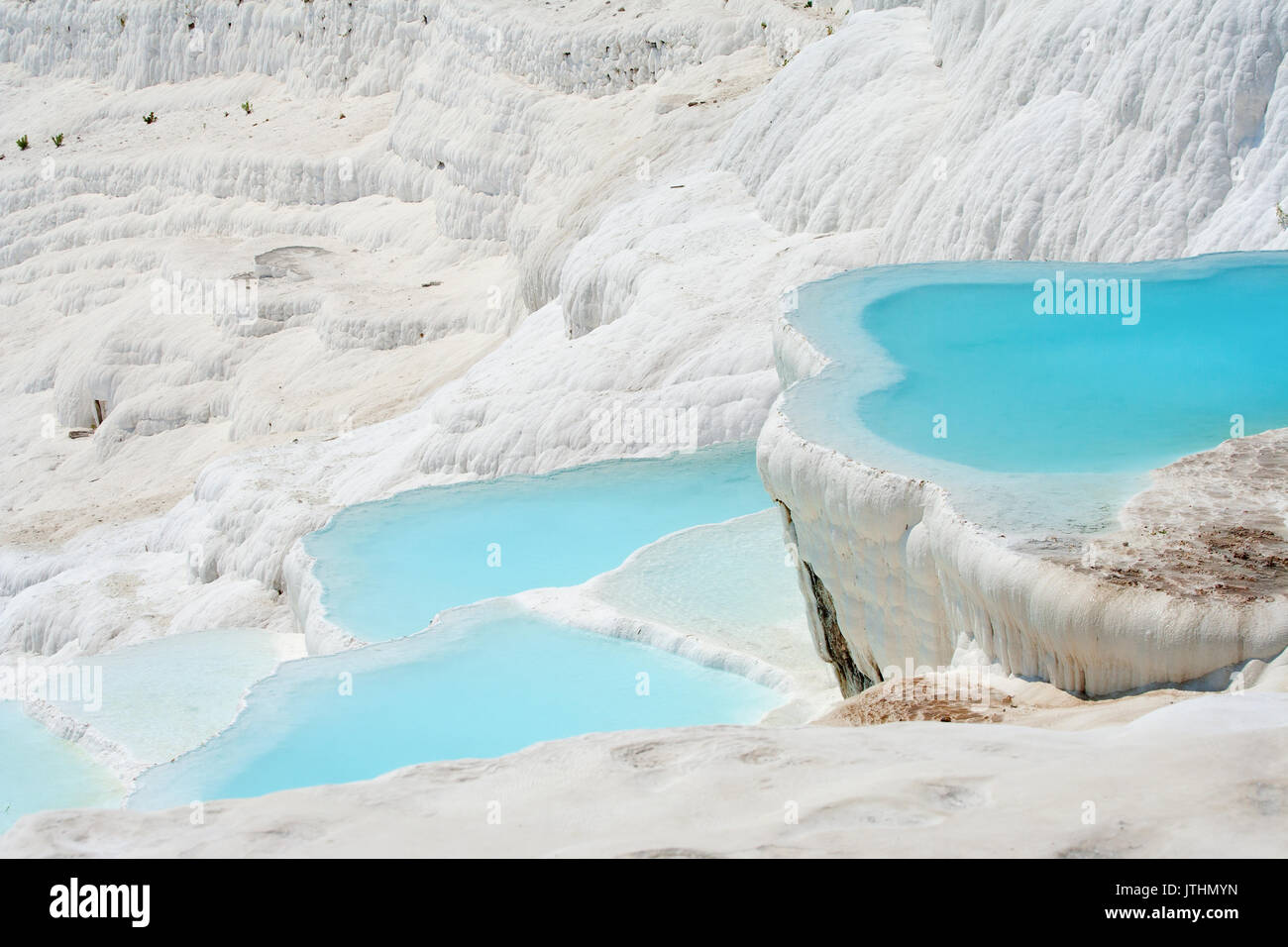 Natural Pamukkale basins full of water - Stock Image
