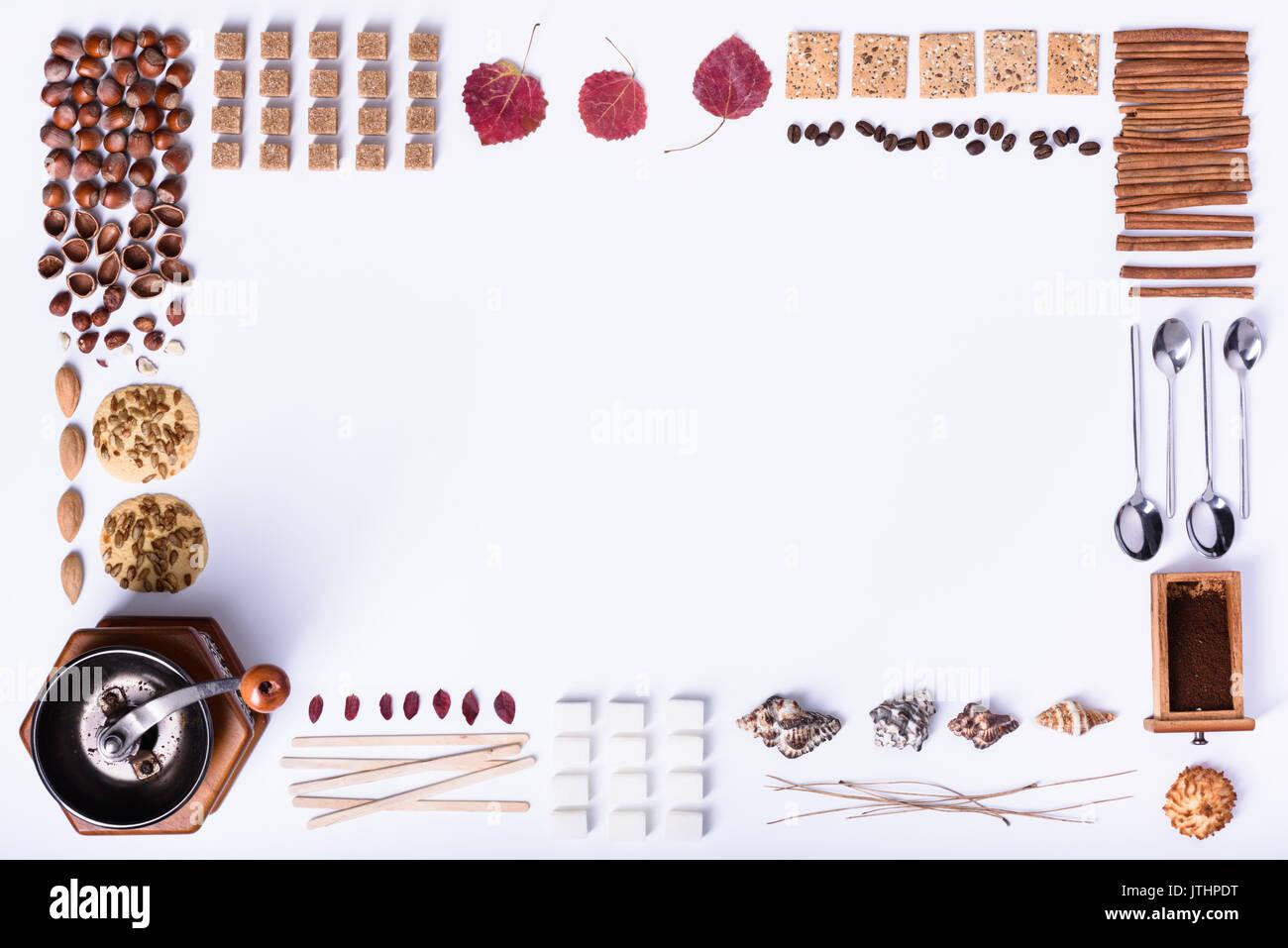 Coffee making and baked dessert ingredients, cafe menu frame. Top ...