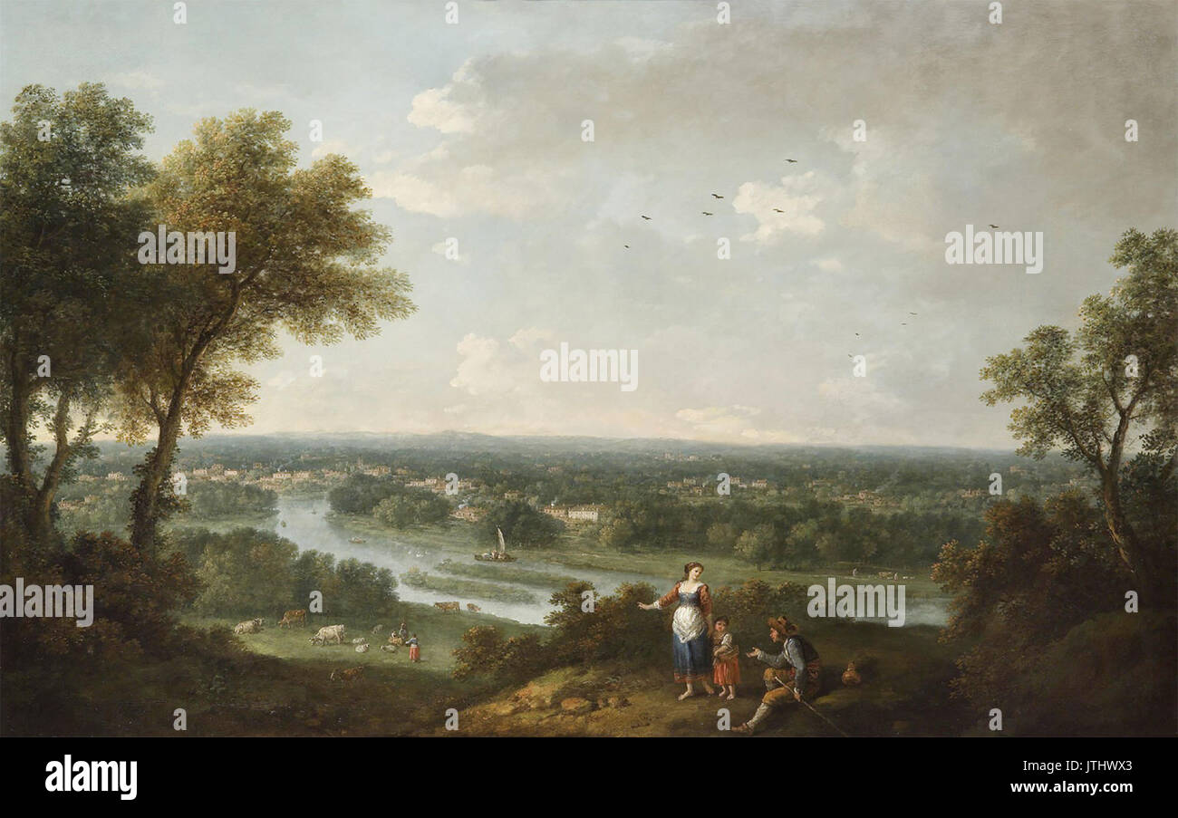 Zuccarelli   A view of the River Thames from Richmond Hill - Stock Image