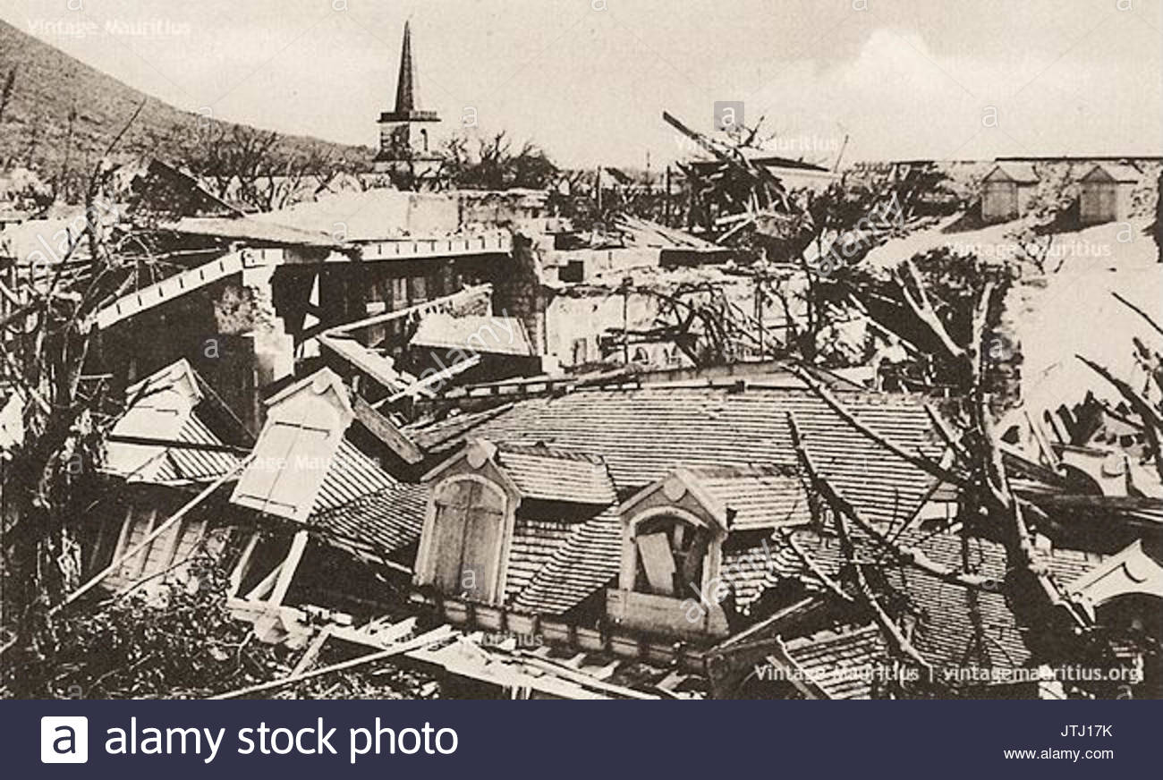 Port Louis Cyclone 1892 Poudriere Street St James Cathedral - Stock Image
