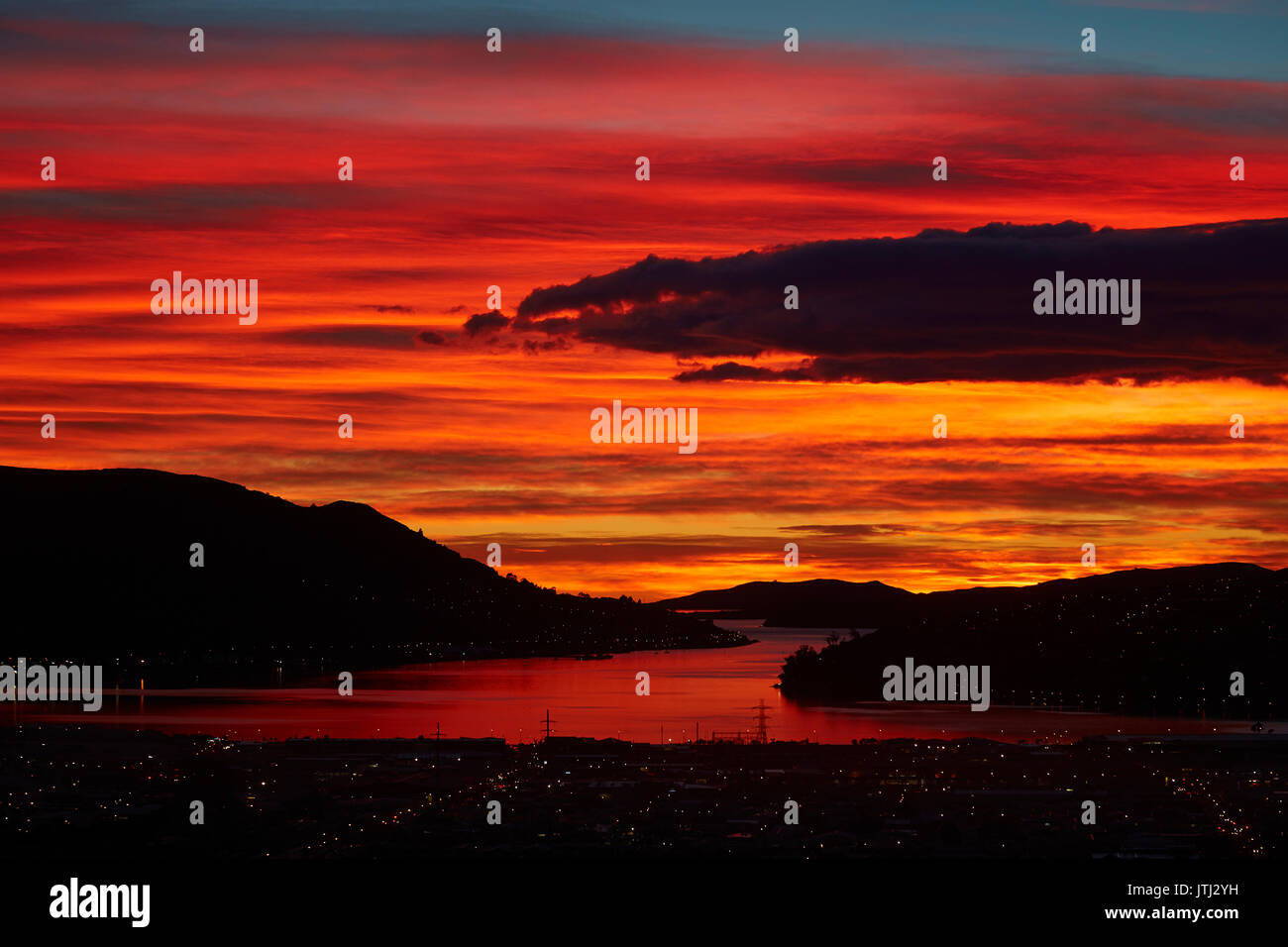 Sunrise, Otago Harbour, Dunedin, South Island, New Zealand - Stock Image