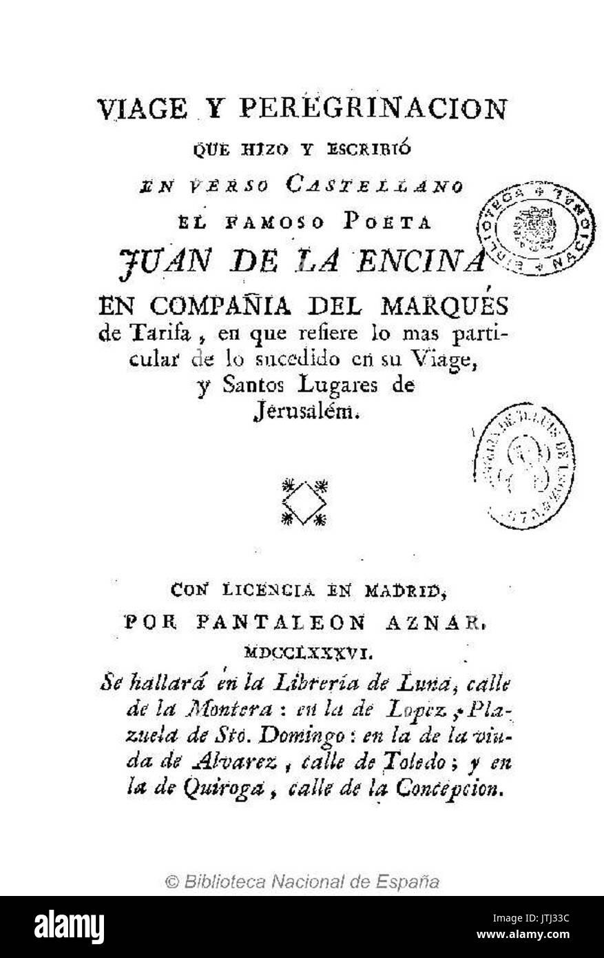Viage y peregrinacion 1786 Juan de la Encina - Stock Image