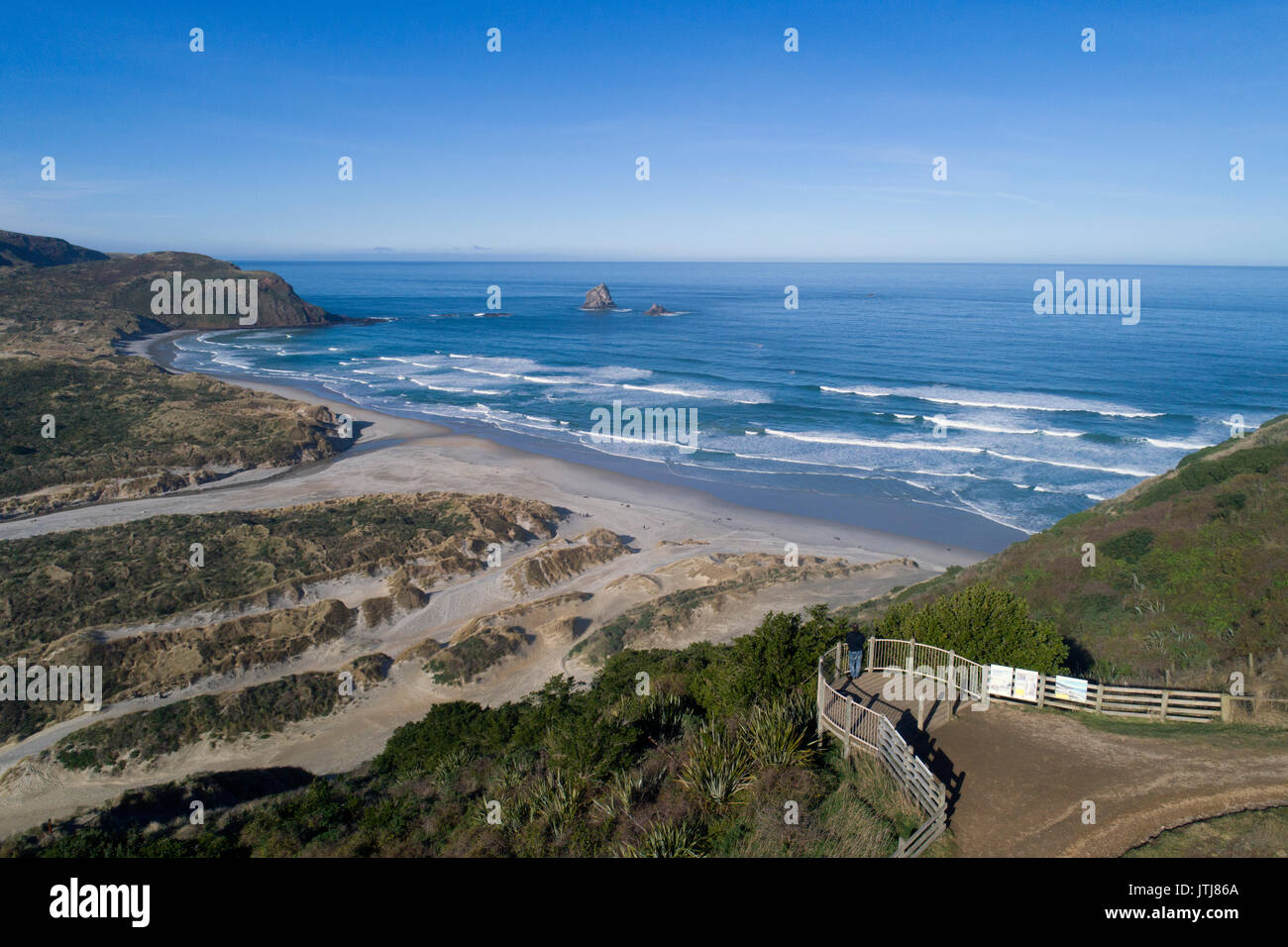 Lookout over Sandfly Bay, Otago Peninsula, Dunedin, Otago, South Island, New Zealand - drone aerial - Stock Image
