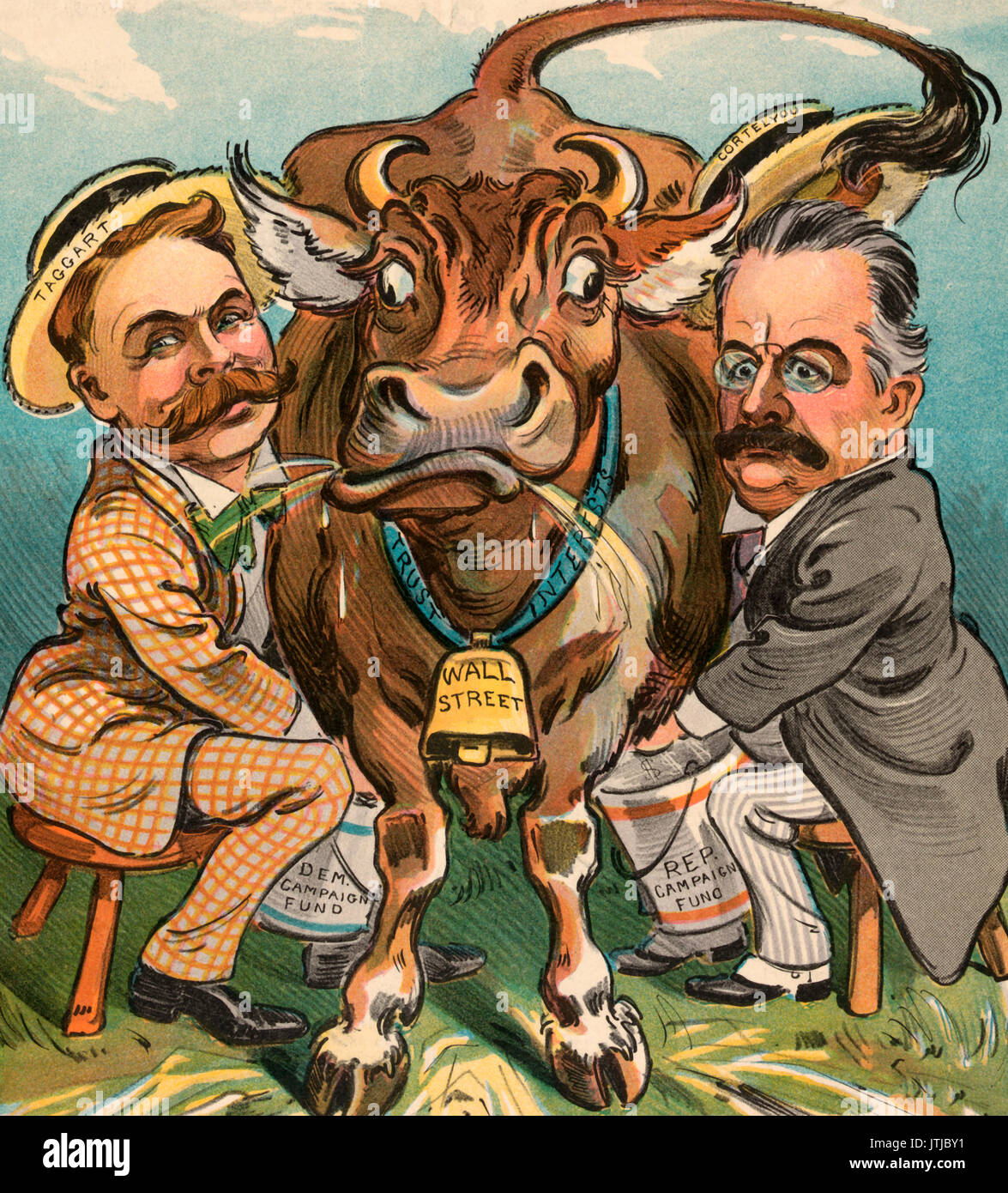 Milking time -  Illustration shows Thomas Taggart, Democratic National Committee chairman, on the left, and George B. Cortelyou, Republican National Committee chairman, on the right, milking a cow into buckets labeled 'Dem. Campaign Fund' and 'Rep. Campaign Fund'. A bell labeled 'Wall Street' hangs from a ribbon labeled 'Trust Interests' around the cows neck. Political Cartoon, 1904 - Stock Image