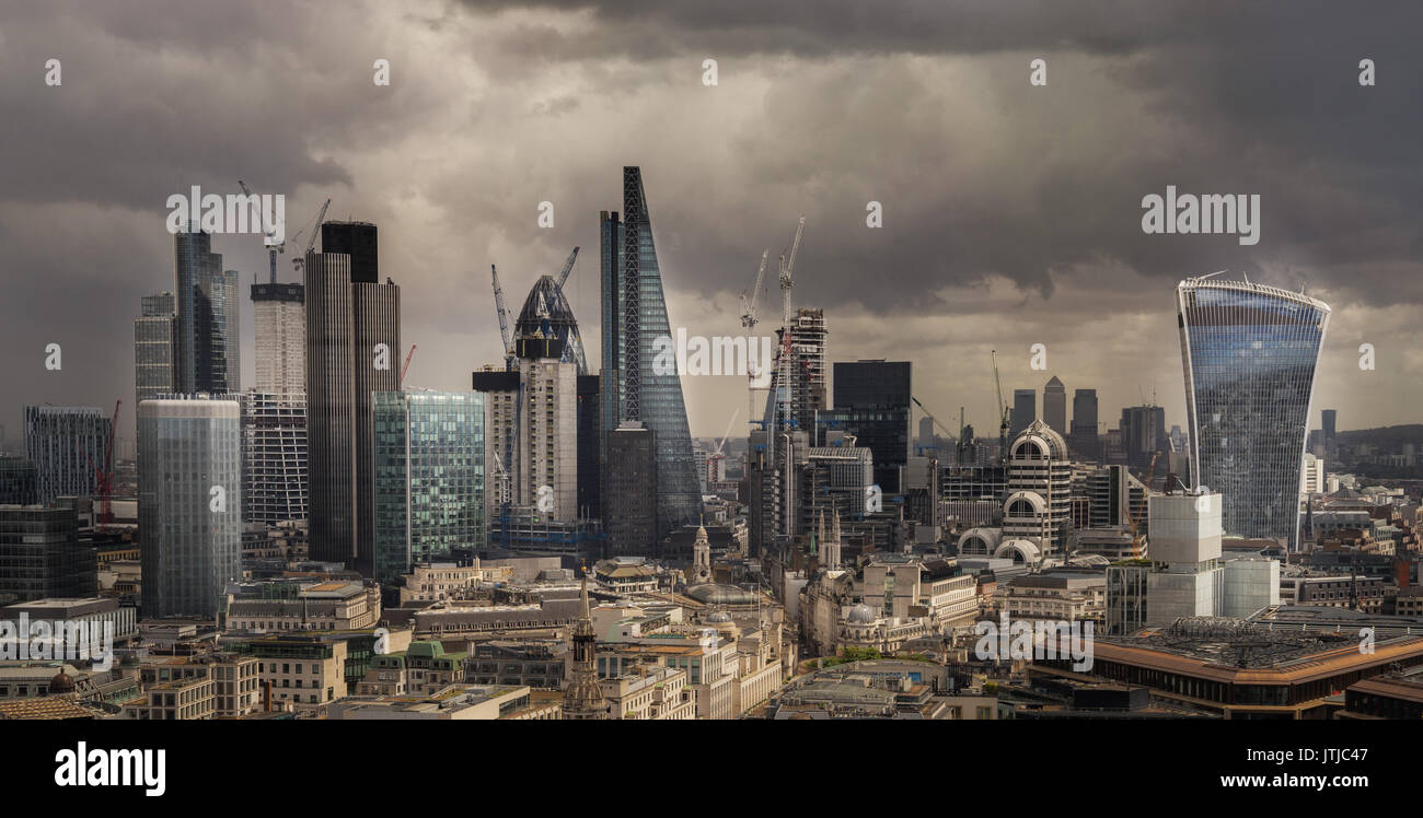 London city Fincial area view frombtop of St Paul's cathedral - Stock Image