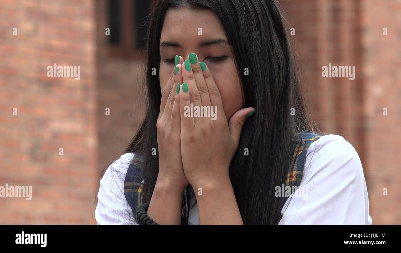 Sad Tearful Girl - Stock Image