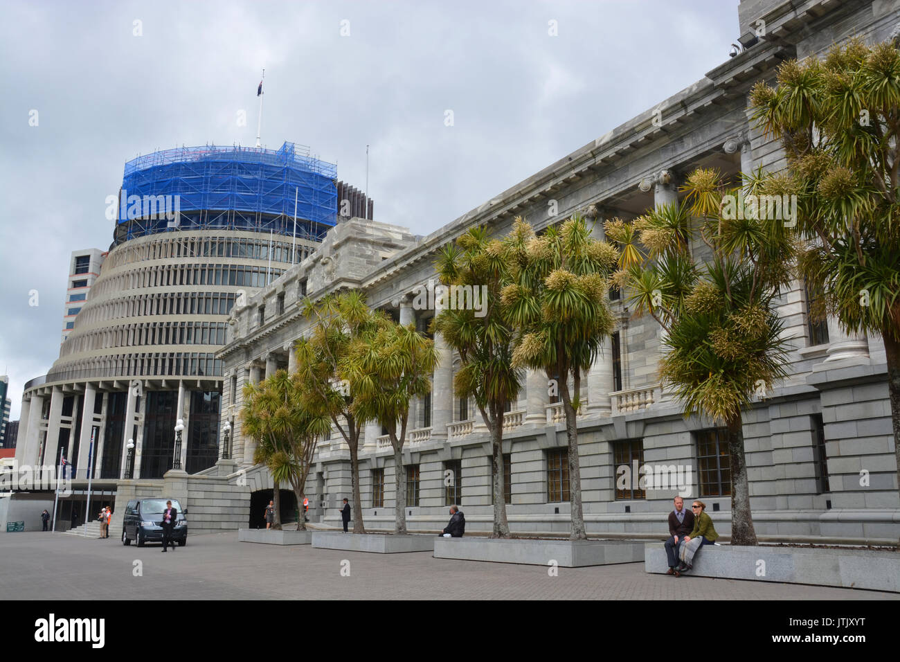 Parliament Buildings & Beehive in downtown Wellington New Zealand. Stock Photo