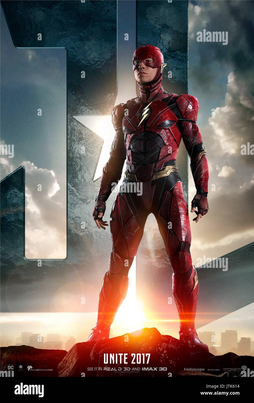 RELEASE DATE: November 17, 2017 TITLE: Justice League STUDIO: DC Entertainment DIRECTOR: Zack Snyder PLOT: Fueled by his restored faith in humanity and inspired by Superman's selfless act, Bruce Wayne enlists the help of his newfound ally, Diana Prince, to face an even greater enemy. STARRING: Ezra Miller as Barry Allen / The Flash (Credit Image: © DC Entertainment/Entertainment Pictures) - Stock Image