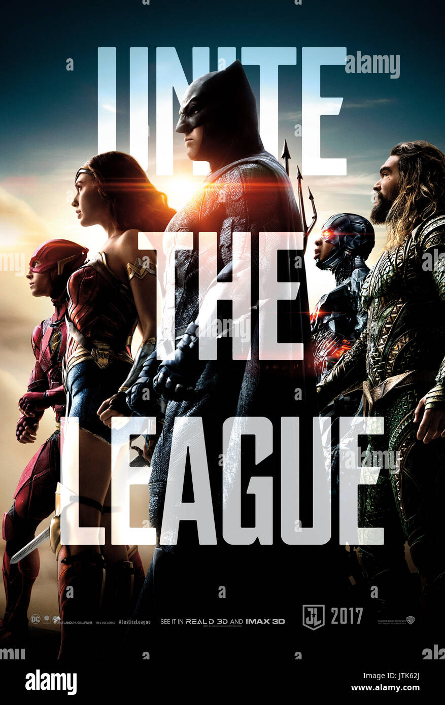 RELEASE DATE: November 17, 2017 TITLE: Justice League STUDIO: DC Entertainment DIRECTOR: Zack Snyder PLOT: Fueled by his restored faith in humanity and inspired by Superman's selfless act, Bruce Wayne enlists the help of his newfound ally, Diana Prince, to face an even greater enemy. STARRING: Ezra Miller as Barry Allen / The Flash, Ben Affleck as Bruce Wayne / Batman, Gal Gadot as Diana Prince / Wonder Woman, Ray Fisher as Victor Stone / Cyborg, Jason Momoa as Arthur Curry / Aquaman poster art. (Credit Image: © DC Entertainment/Entertainment Pictures) - Stock Image
