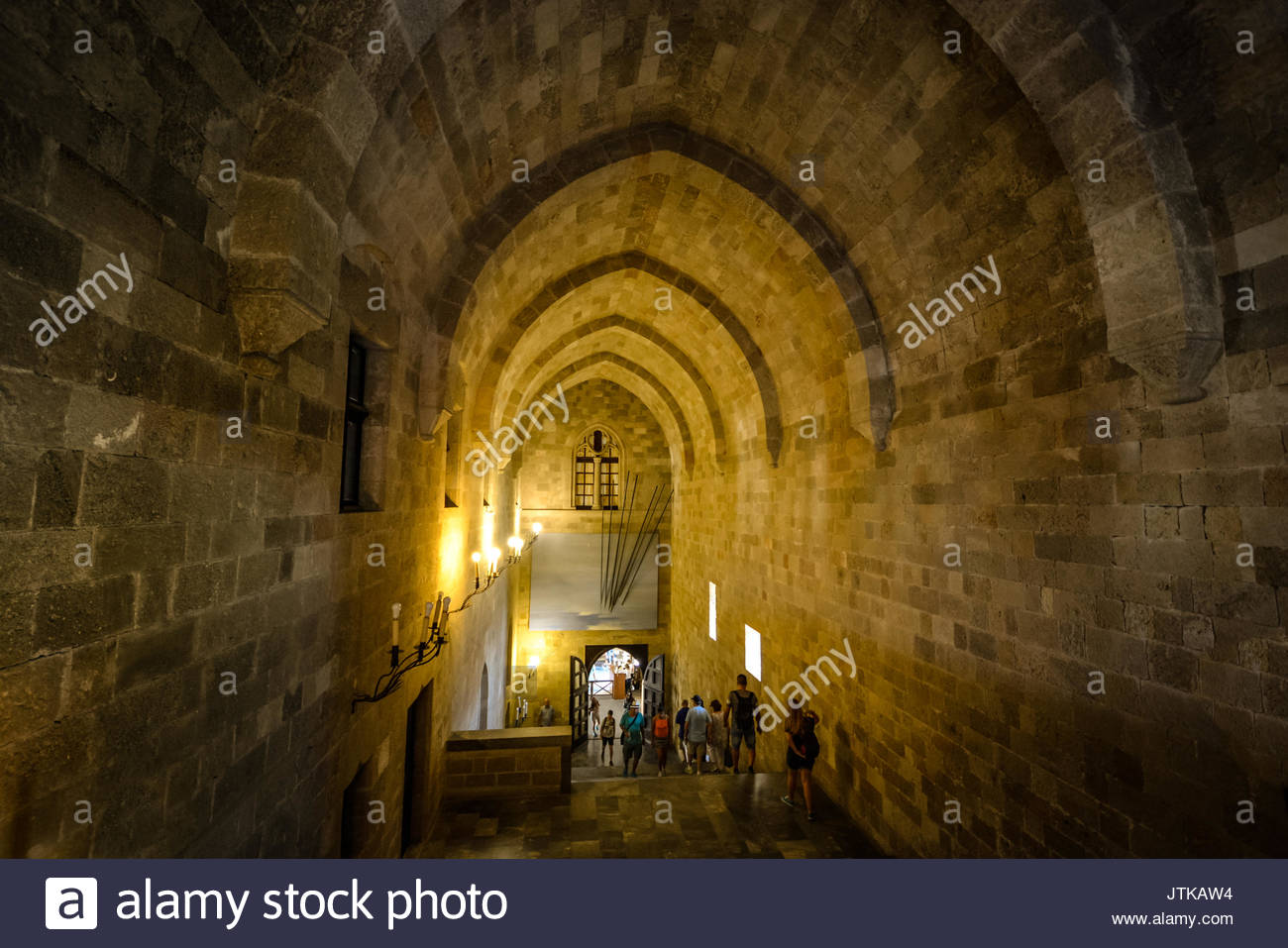 The interior grand staircase of the Palace of the Grand Master of the Knights of Rhodes with huge vaulted ceilings - Stock Image
