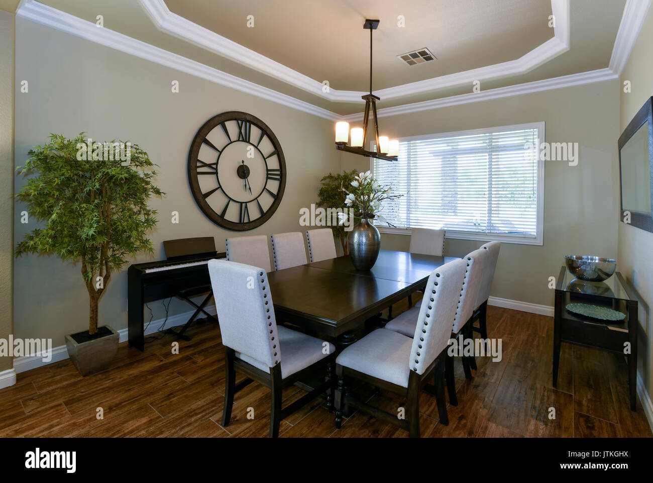Contemporary resintial dining room, home interior. - Stock Image