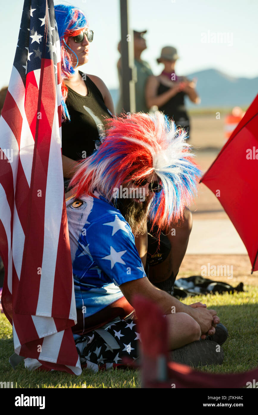 American Independence Day concertgoers with festive costumes enjoying a 4th of July Concert in Clark County Nevada - Stock Image