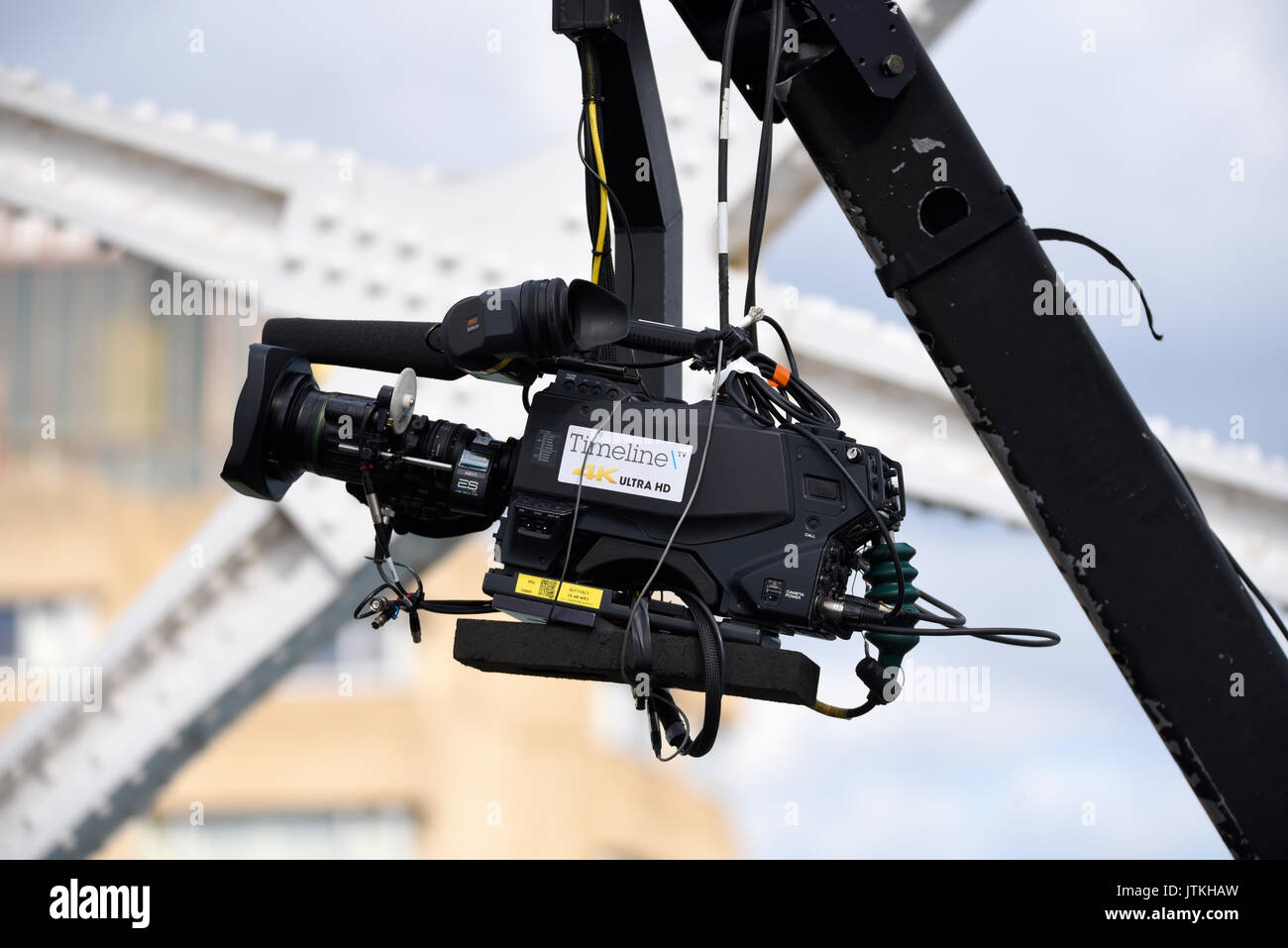 TV camera for BBC coverage of the World Athletics Championships Marathon at the finish line on Tower Bridge, London. Timeline TV. Canon.Space for copy - Stock Image