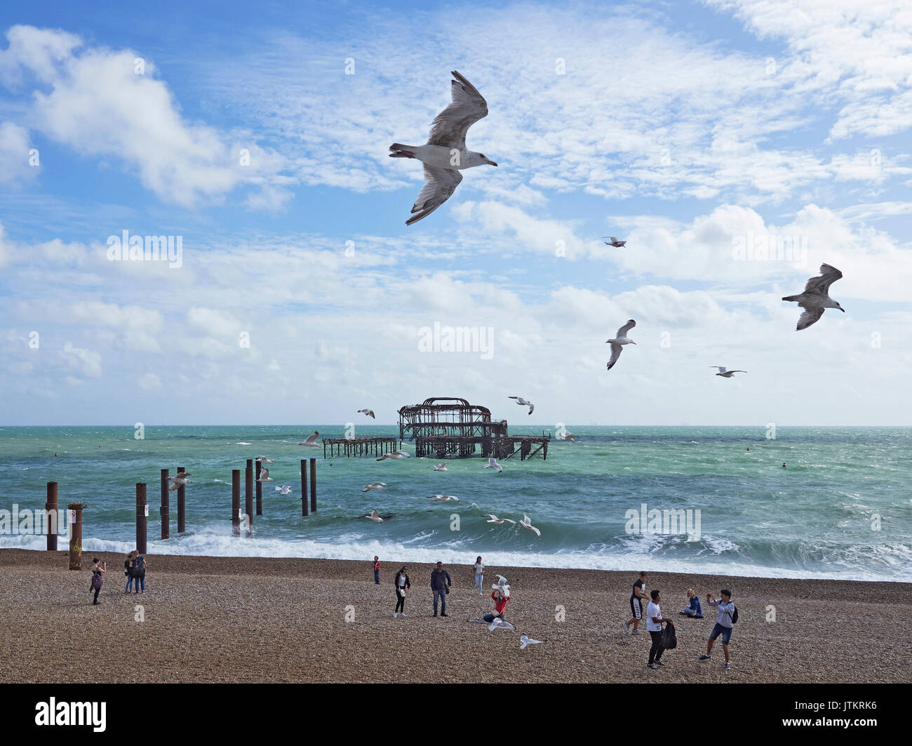 Brighton beach and the remains off the West pier with people enjoying the beach and sun with the local seagulls Stock Photo
