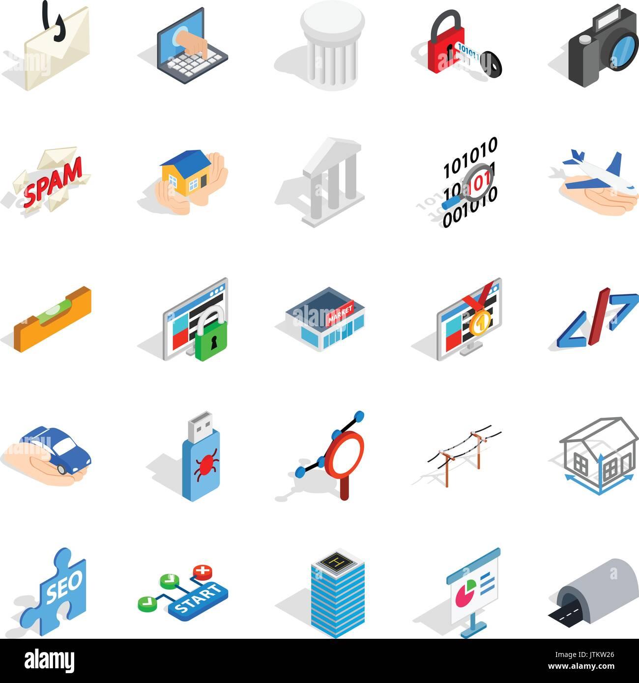 SEO optimisation icons set, isometric style - Stock Image