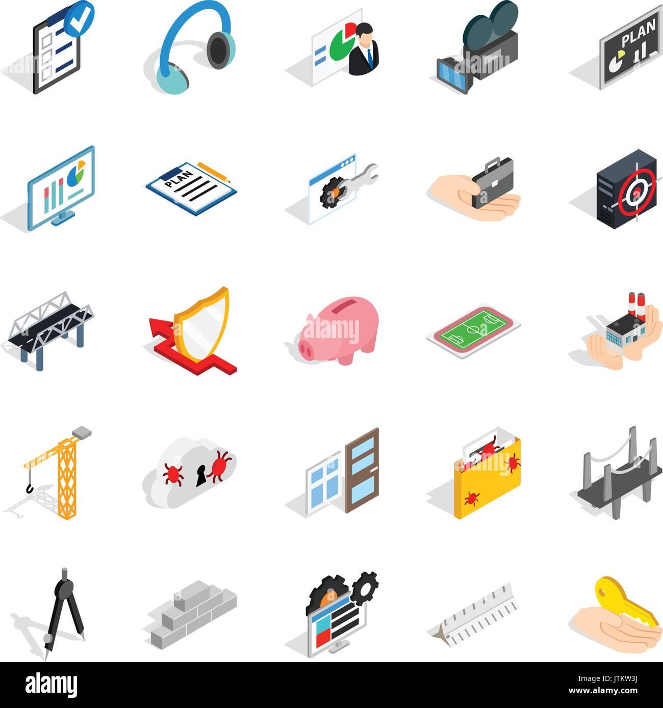 Optimisation icons set, isometric style - Stock Image
