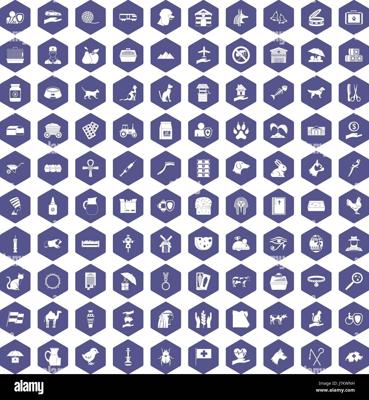 100 pets icons hexagon purple - Stock Image